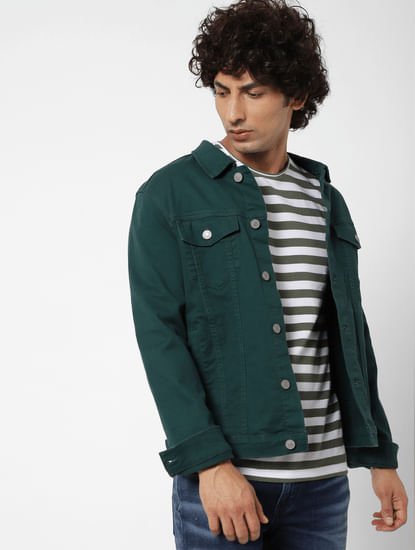 Green Striped Crew Neck T-shirt