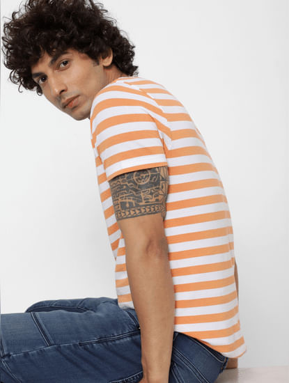 Orange Striped Crew Neck T-shirt