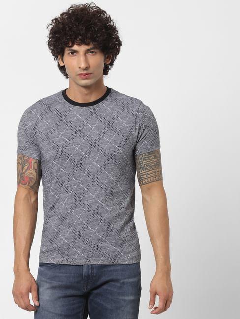 Grey Jacquard Crew Neck T-shirt