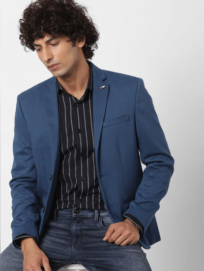 Black Striped Full Sleeves Slim Fit Shirt