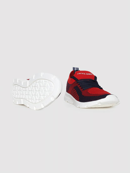 Red Self-Design Sneakers