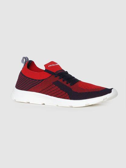 Red Self-Design Sneakers