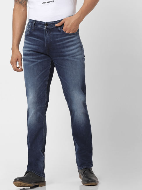 Blue Mid Rise Clark Regular Fit Washed Jeans