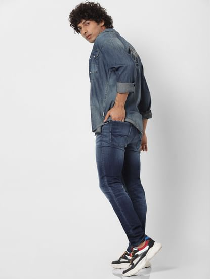 Blue Mid Rise Liam Skinny Fit Washed Jeans