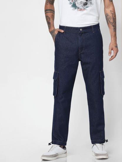 Blue Mid Rise Utility Anti-Fit Jeans