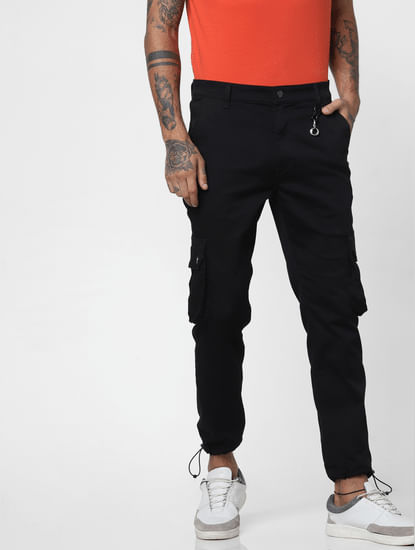 Black Mid Rise Utility Anti-Fit Jeans