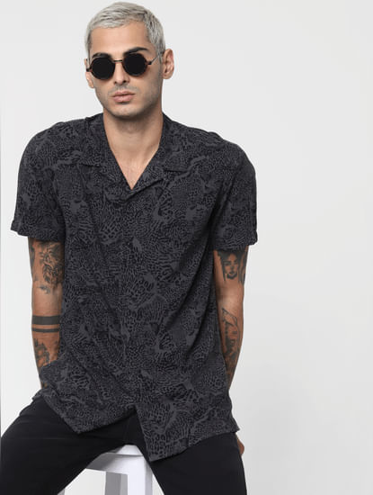Dark Grey Animal Print Short Sleeves Shirt