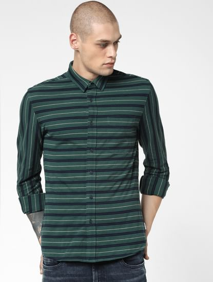 Green Striped Full Sleeves Shirt