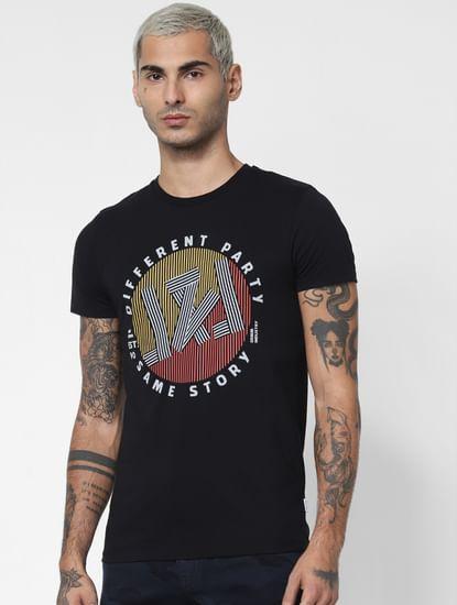 Black Graphic Print Crew Neck T-shirt
