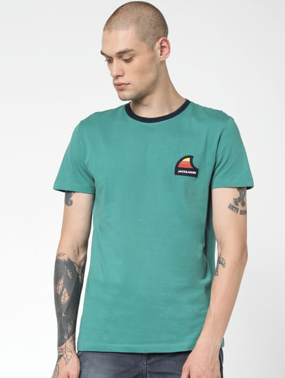 Green Logo Print Crew Neck T-shirt