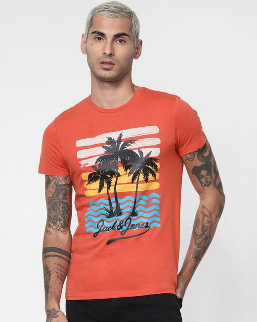 Orange Graphic Print Crew Neck T-shirt