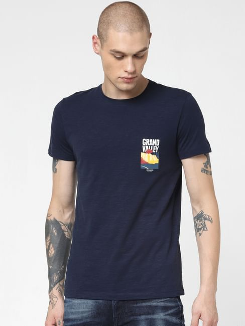 Navy Blue Graphic Print Crew Neck T-shirt