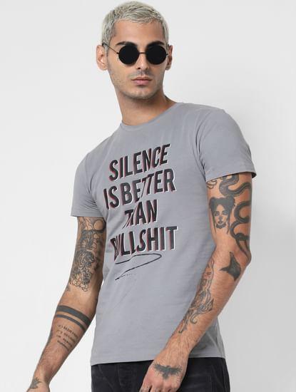 Grey Slogan Print Crew Neck T-shirt