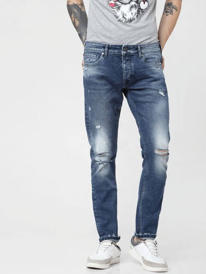 Blue Low Rise Distressed Glenn Slim Fit Jeans