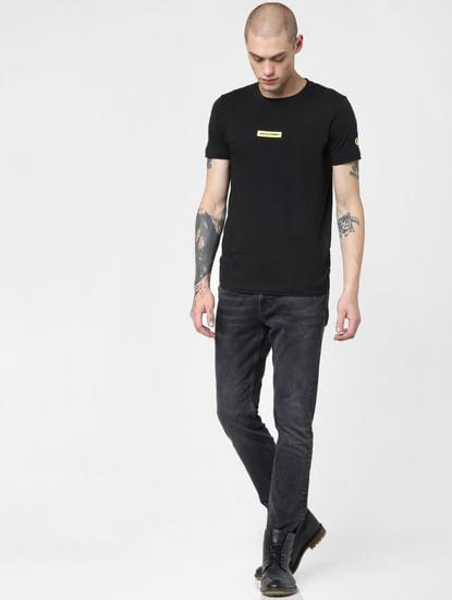 Black Low Rise Washed Glenn Slim Jeans