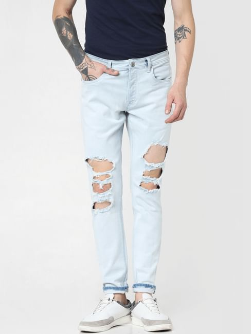 Light Blue Low Rise Ripped Glenn Slim Jeans