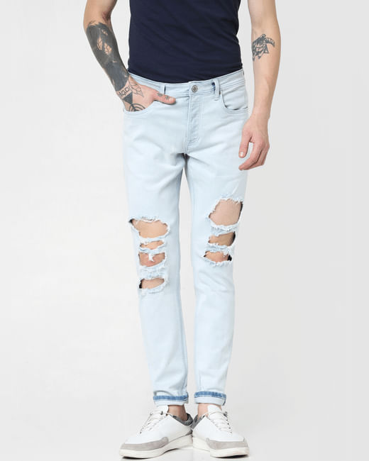 Light Blue Low Rise Ripped Glenn Slim Jeans