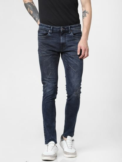 Dark Blue Low Rise Distressed Liam Skinny Jeans