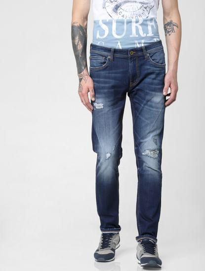 Dark Blue Low Rise Washed Tim Slim Jeans