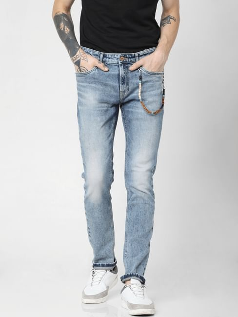 Blue Low Rise Washed Ben Skinny Jeans