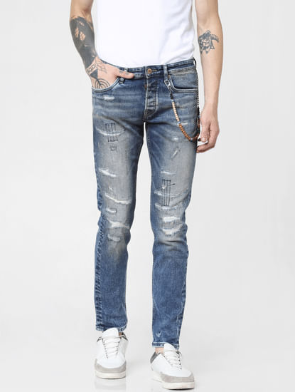 Blue Low Rise Distressed Glenn Slim Fit Jeans