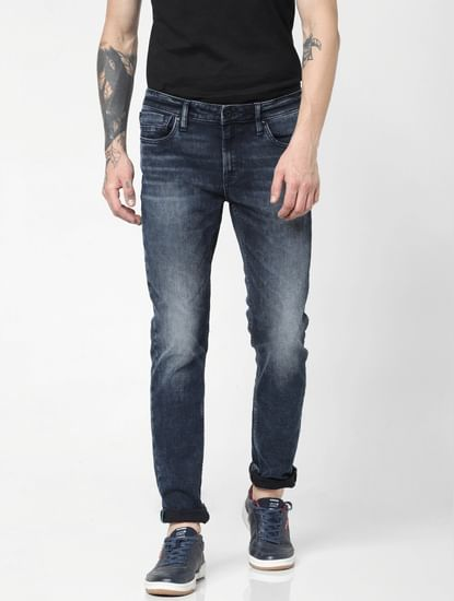 Dark Blue Low Rise Faded Ben Skinny Jeans