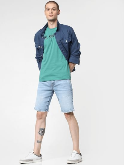 Light Blue Mid Rise Washed Denim Shorts