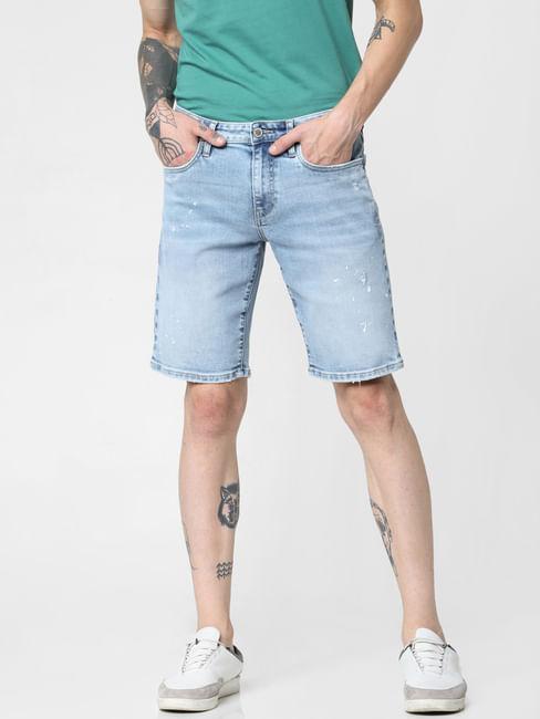 Light Blue Mid Rise Washed Denim Shorts