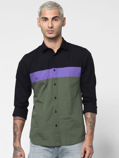 Black Colourblocked Full Sleeves Shirt