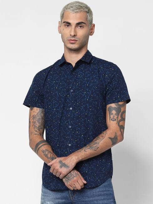 Blue All Over Print Short Sleeves Shirt