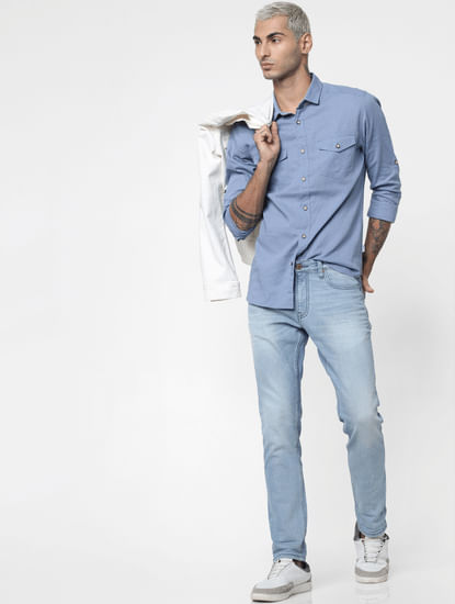 Blue Washed Linen Full Sleeves Shirt