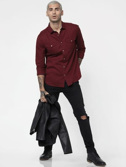 Maroon Washed Linen Full Sleeves Shirt
