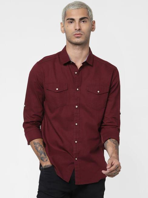Maroon Washed Linen Full Sleeves Shirt