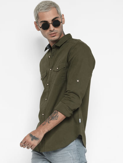 Green Washed Linen Full Sleeves Shirt