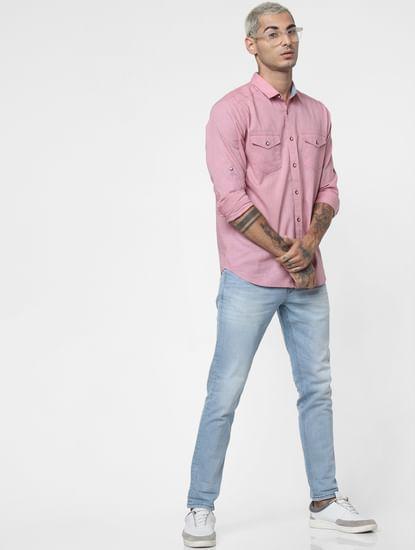 Mauve Washed Linen Full Sleeves Shirt