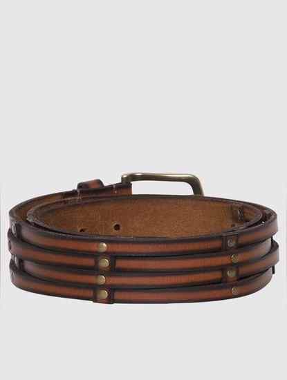 Brown Logo Detail Leather Belt
