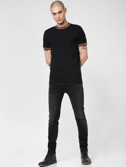 Black Low Rise Washed Ben Skinny Jeans