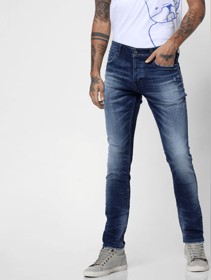 Dark Blue Low Rise Washed Glenn Slim Fit Jeans