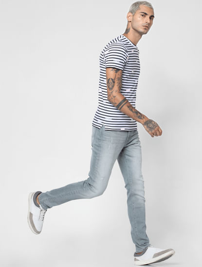Grey Low Rise Washed Liam Skinny Fit Jeans