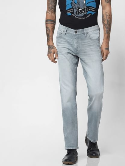 Grey Low Rise Washed Clark Regular Fit Jeans