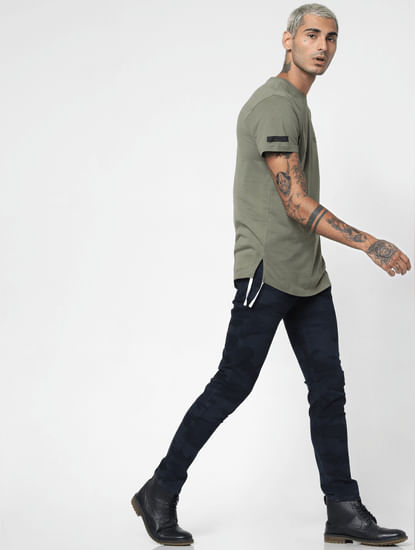 Dark Blue Low Rise Camo Print Slim Fit Jeans