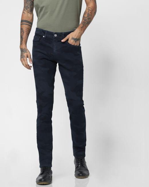 Dark Blue Low Rise Camo Print Slim Fit Jeans