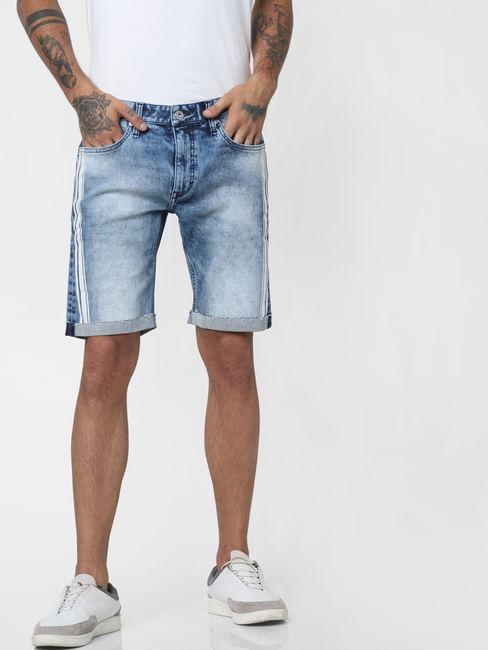 Blue Mid Rise Tape Detail Denim Shorts