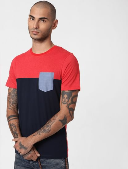 Red Colourblocked Crew Neck T-shirt