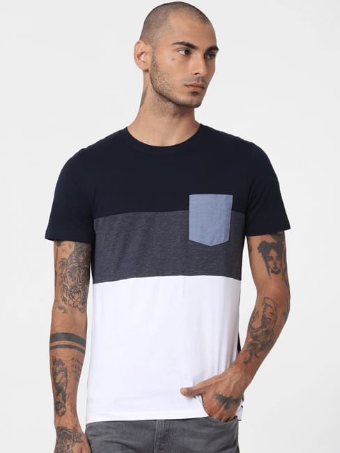 Blue Colourblocked Crew Neck T-shirt