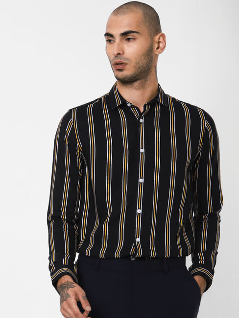Black Striped Full Sleeves Shirt