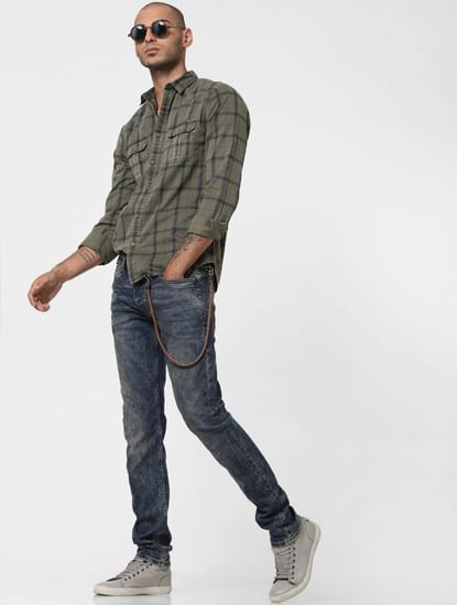 Khaki Overdyed Check Full Sleeves Shirt