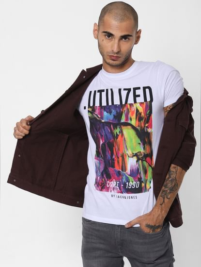 White Abstract Print Crew Neck T-shirt