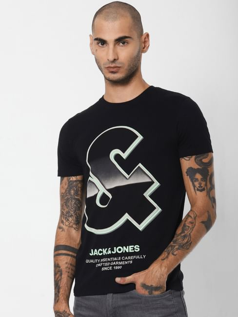 Black Logo Print Crew Neck T-shirt