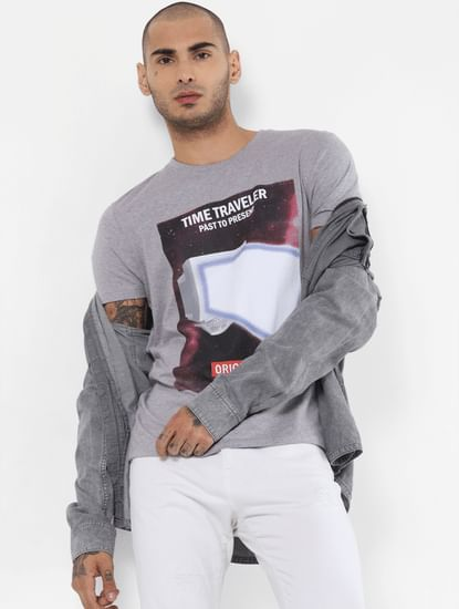 Light Grey Graphic Print Crew Neck T-shirt